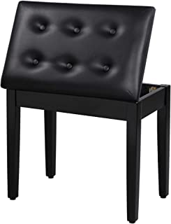 SONGMICS Padded Wooden Piano Bench Stool with Music...