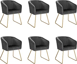 WOLTU 6X Sillas de Comedor Nordicas Estilo Vintage Juego de 6, Sillas de Cocina Sillas Tapizadas en Terciopelo Estructura de Metal Sillas Comedor Gris Oscuro BH271dgr-6