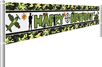 9.8 x 1.6ft Large Camo Happy Birthday Banner Camouflage Birthday Party Supplies Decorations for Both Outdoor Indoor