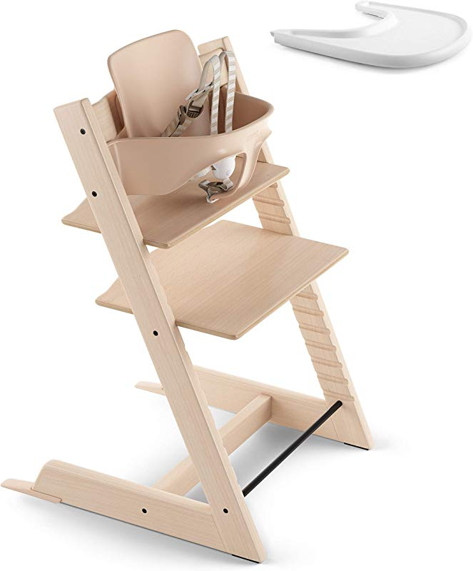 Stokke 2019 Tripp Trapp Natural High Chair White Tray Bundle