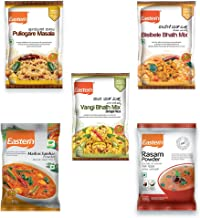 Eastern Vegetarian Combo Puliogare Masala, Bisibelebath and Vangi Bhath Mix, Madras Sambar, Rasam Powder, 100g - Pack of 5