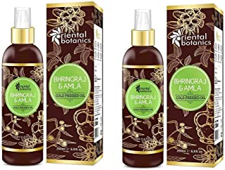 Oriental Botanics Bhringraj & Amla Cold Pressed Oil For Hair Regrowth - 200ml (Pack OF 2) (No Mineral Oil, Silicon or Para...