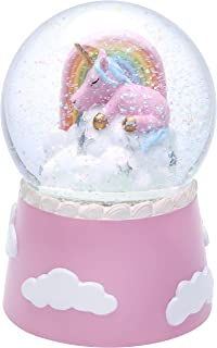 J JHOUSELIFESTYLE Musical Unicorn Snow Globes for Girls, Sleeping Unicorn and Rainbow Rotating Inside as Music Plays, Perfect Unicorn Music Box for Girls, Granddaughters Babies Birthday - Pink