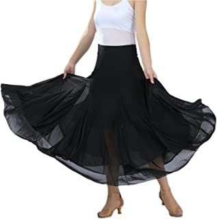 Elegant Ballroom Dancing Waltz Dance Party Long Swing Mesh Skirt