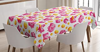Ambesonne Pig Decor Tablecloth, Piggy Bank and Coins Dollar Signs Money Box Pennies Cartoon Design, Dining Room Kitchen Rectangular Table Cover, 52 X 70 inches