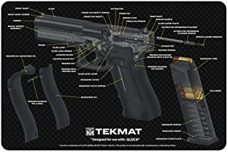 TekMat Glock Cut Away Cleaning Mat / 11 x 17 Thick, Durable, Waterproof / Handgun Cleaning Mat with Parts Diagram and Instructions / Armorers Bench Mat / Black