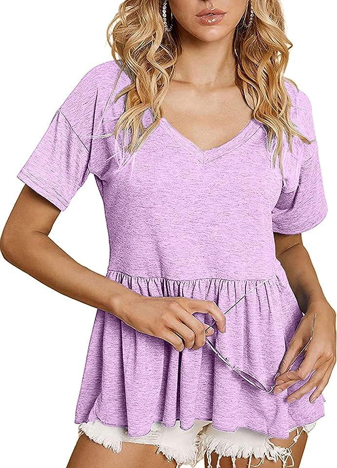 Sofia's Choice Women Peplum Tops V Neck Loose Fit Short Sleeve Pleated Tee Shirt