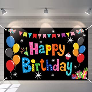 Colorful Happy Birthday Banner Party Decorations Rainbow Birthday Backdrop Large Yard Sign backgroud It's My Birthday Part...