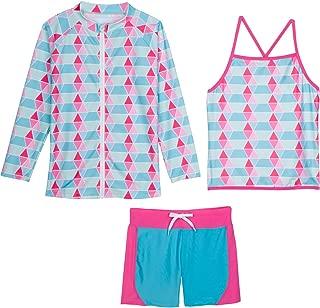 Girls Long Sleeve Rash Guard Swim Shorts Set with UPF 50+