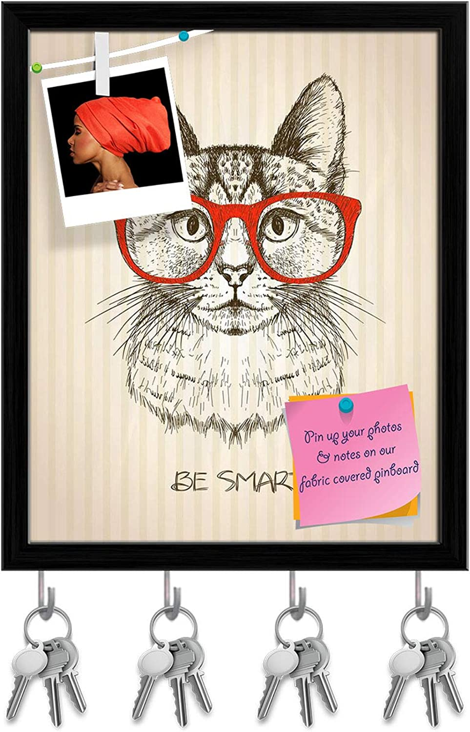 Artzfolio Hipster Cat with Red Glasses Key Holder Hooks   Notice Pin Board   Black Frame 16 X 19.8Inch