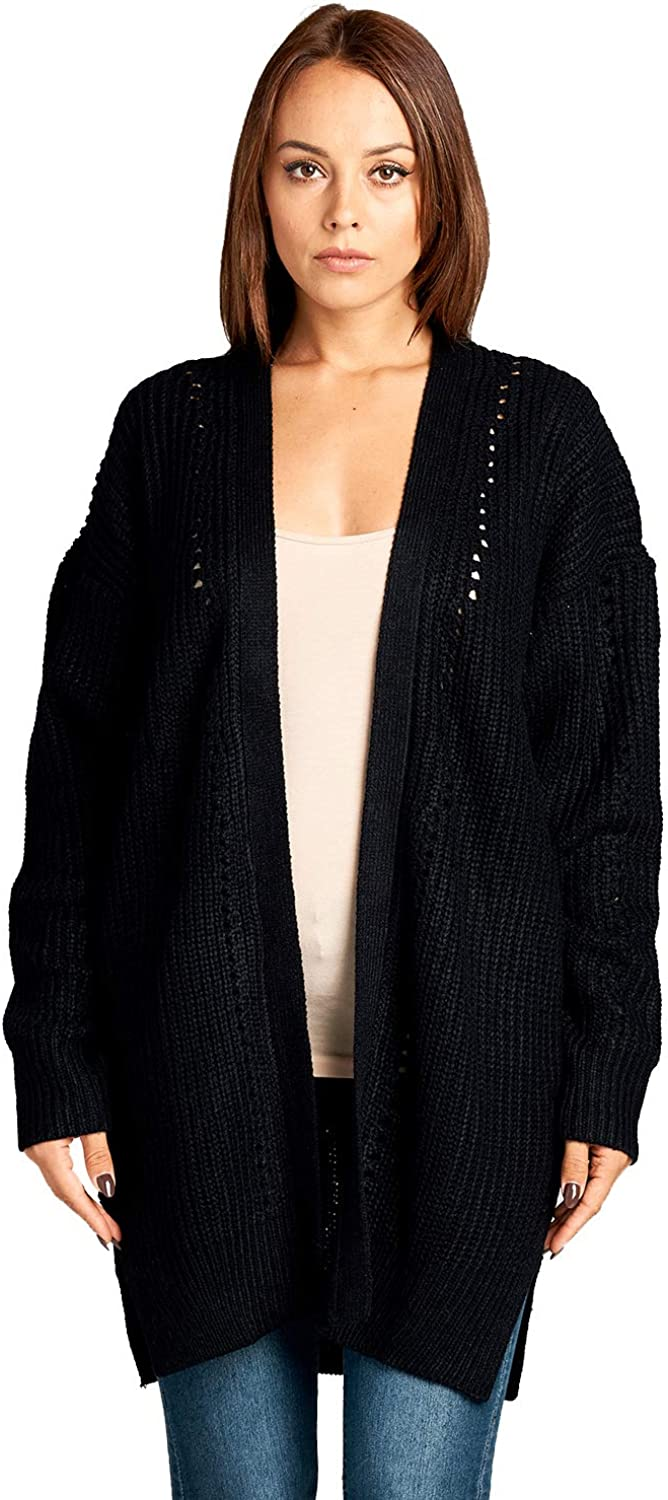 ICONICC Women's Long Knit Open Front Cardigan with Pockets
