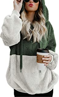 Women's Long Sleeve Hooded Fleece Sweatshirt Warm Fuzzy Zip Up Hoodie Pullover