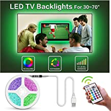 TV Led Backlight, Bason 6.17ft USB Led Lights Strip for TV/Monitor Backlight, Led Strip Light with Remote, TV Bias Lighting for Room Home Movie Decor.(30-40inch) …
