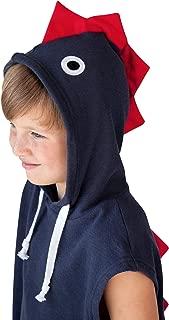 Dino Hooded Cover Up for Kids (4-7 Years) - Children Hooded Dinosaur Swim, Beach, Bath Towel for Boys and Girls (Navy)