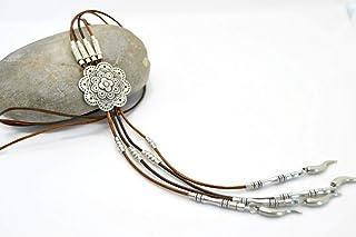 Collar largo de cuero y zamak plata estilo boho para mujer, collar mandala