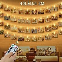 Clip Cadena de Luces LED, otumixx 40 Fotoclips 4,2M Foto Clips Cadena de luces LED, Mando a Distancia, 8 Modos de Luz, Guirnalda Luminosa LED para Decorar Fotos, Postales, Notas, Ilustraciones