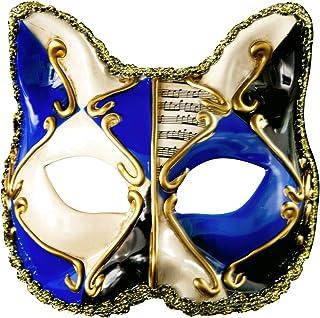 ハロウィン 子供仮面 マスカレード パーティー 半面 小猫マスク レース (ブルー)