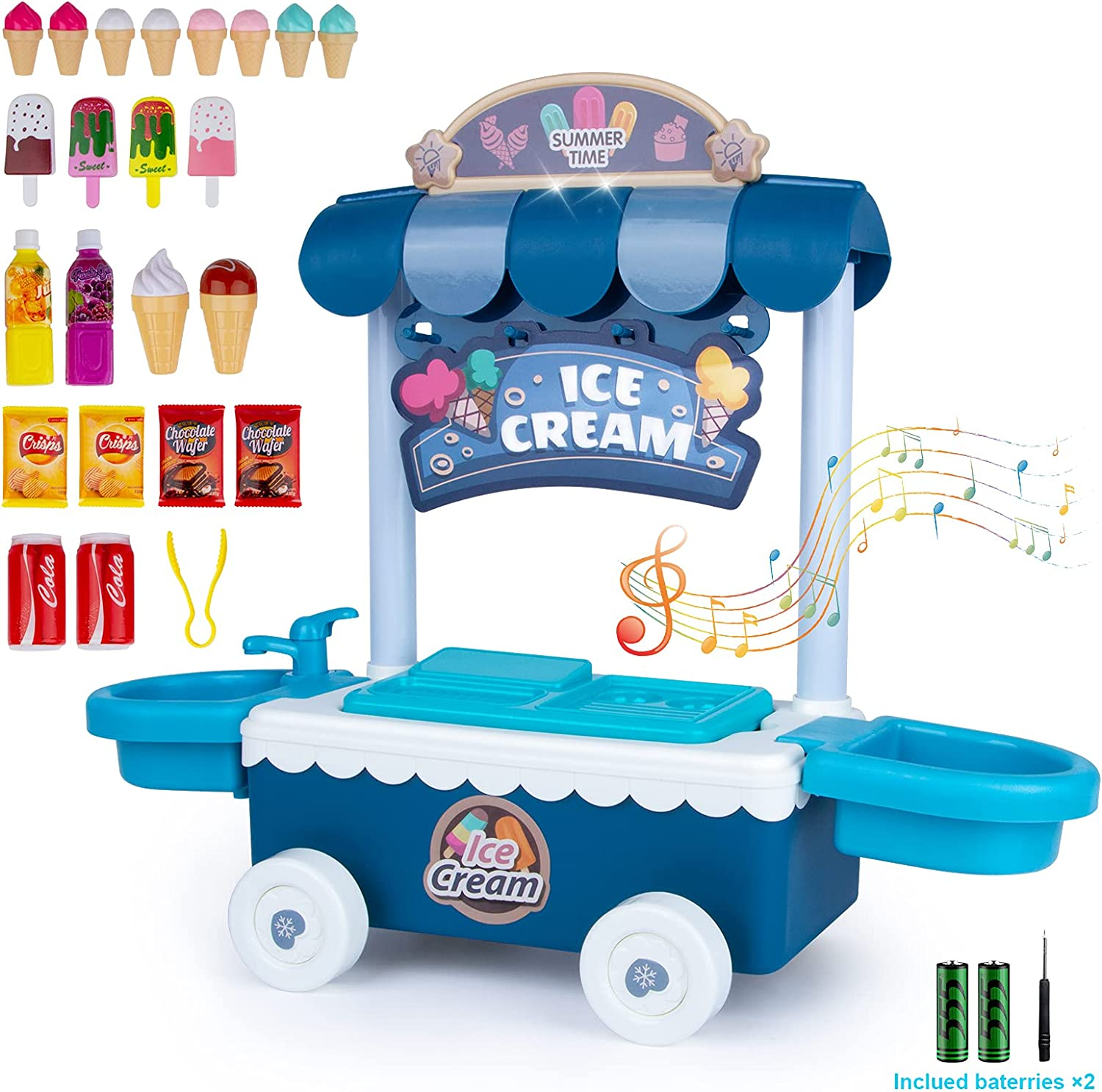 Noetoy Ice Cream Toy Food Truck, Play Food Kitchen Toys for Toddlers, 25Pcs Educational Pretend Play Food Toys with Music Lighting for 3 4 5 6 Year Old Girls Boys Birthday Gift (Blue)