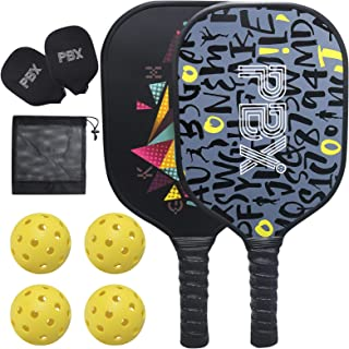 PBX Pickleball Paddle Set of 2 Premium Graphite Pickle Ball Set Includes 4 Pickleball Balls and Protection Carrying Case - Indoor and Outdoor Pickleball Rackets