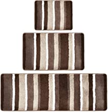 mDesign Striped Microfiber Polyester Spa Rugs for Bathroom Vanity, Tub/Shower - Water Absorbent, Machine Washable, Include...