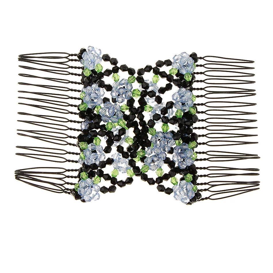 アシュリータファーマン放置ドラフトLUOSAI 女性のための伸縮性のあるパンメーカー - 説明されているように青、弾性花マジックダブルヘアコームクリップ