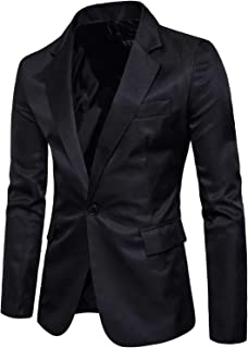 Men's Long Sleeves Peak Lapel Collar One Button Slim Fit Sport Coat Blazer