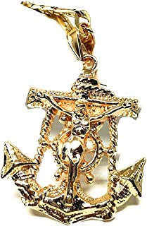 Gold Plated Jesus Crucifix Anchor Pendant Necklace 26
