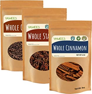 Yamees Cinnamon Sticks, Whole Cloves, and Star Anise - Bulk Spices - 3 Pack of 6 Ounces