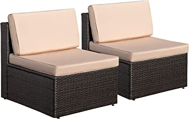 Homall Outdoor Patio Furniture Set, All Weather PE Rattan Wicker Loveseat Patio Sectional Sofa with Cushions for Lawn Poolsid