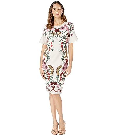 Adrianna Papell Folkloric Beauty Sheath Dress (Pink Multi) Women