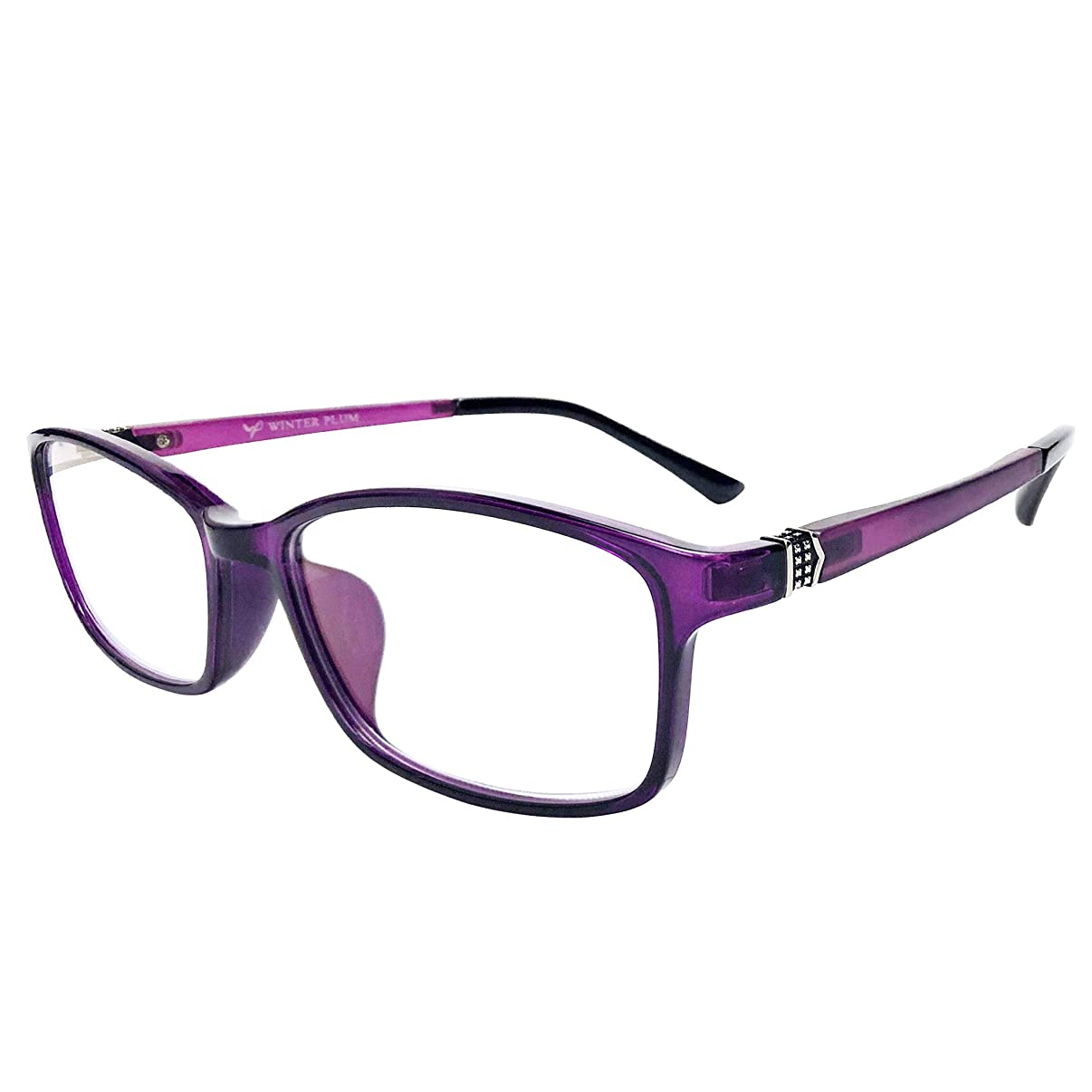WINTER PLUM Reading Glasse,Blue Light Blocking Computer Glasses,Anti UV Glare Harmful for Men and Women(1601/Purple)