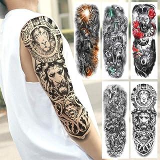 Full Arm Lion Monster Tatuajes Temporales Para Hombres Mujeres Long Size Art Tatoo Diy Realistic Fake Tattoo Sticker 5Pcs