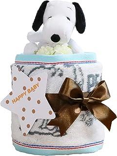 スヌーピー(snoopy) 出産祝い 1段 おむつケーキ 今治タオル パンパース テープタイプ M imabari towel ぬいぐるみ 女の子 男の子 男女兼用 ピーナッツ PEANUTS