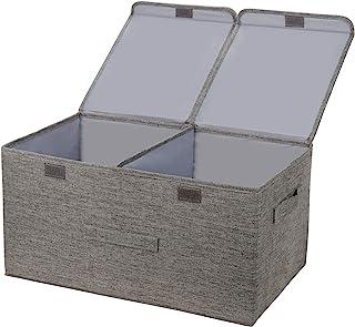 leehui store Grande boîte de Rangement Cube avec couvercles Pliable en Tissu Gris avec poignées 60 L Organiseur de Salle d...