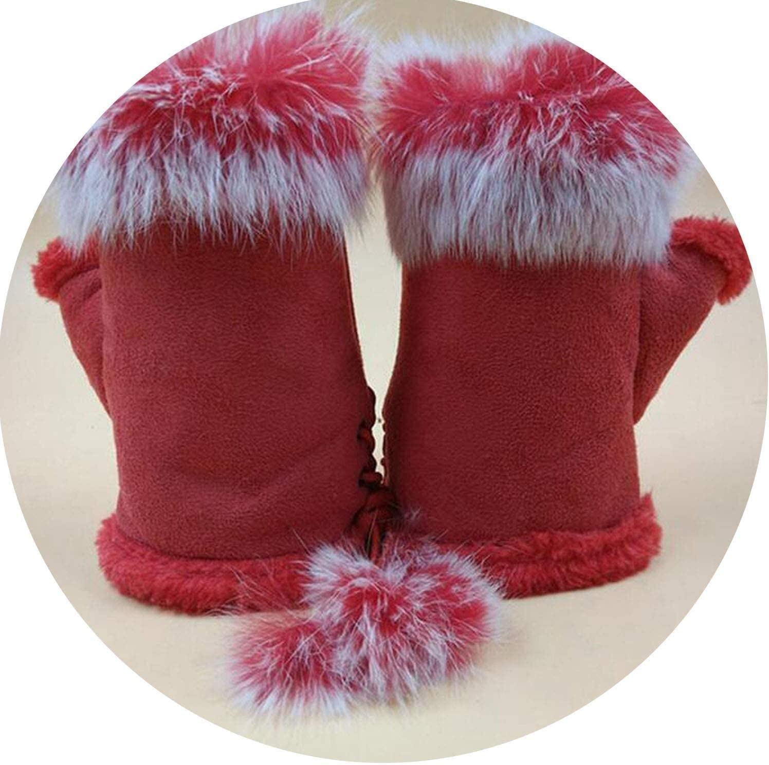 Warm Gloves Female Rabbit Hair Wrist Gloves Fingerless Computer Typing Mittens Winter Women Suede Leather Warm Thick Cashmere Gloves (Color : Red, Size : One Size)