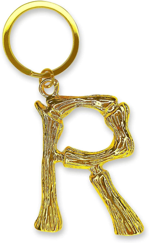 A-Z Initials Alphabet Letter Keychain Golden Mental Keyring for Women Car Key- R