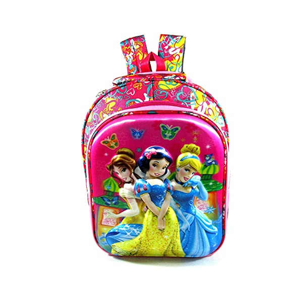 Priceless Deals Girl's Polyester 5D Embossed 16 Inches Disney Princess Cartoon Characters Printed Pink School Bag/Backpack (5 to 7 Years)