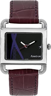 Fastrack Women's Fashion-Casual Analog Watch-Quartz Mineral Dial - Leather/Silver Metal Strap