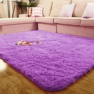 ACTCUT Super Soft Indoor Modern Shag Area Silky Smooth Fur Rugs Fluffy Anti-Skid Shaggy Area Rug Dining Living Room Carpet Comfy Bedroom Floor 4- Feet by 5- Feet (Purple)