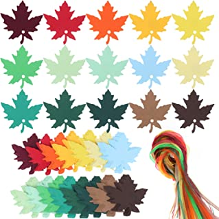 SUBANG 150 Pcs 15 Colors Maple Leaves Gift Tags Sign with Strings Tags Escort Cards Wishing Tree Tags Name Place Cards Hanging Sign Tags Leaves Paper Cutouts with Holes for Fall Wedding Party Festival