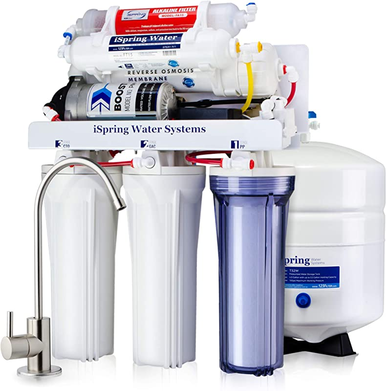ISpring RCC7P AK Boosted Performance Under Sink 6 Stage Reverse Osmosis Drinking Filtration System And Ultimate Water Softener With Alkaline Remineralization And Pump