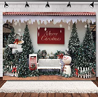 WOLADA 7x5ft Merry Christmas Photo Backdrop Xmas Streetscape Tree Bench Snowman Letters for Santa Photography Background Christmas Festival Home Baby Party Decor Banner Photo Studio Props 11751
