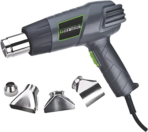 Genesis GHG1500A 12.5 Amp Dual-Temperature Heat Gun Kit with High and Low Settings, Air Reduction Nozzle, Reflector N...