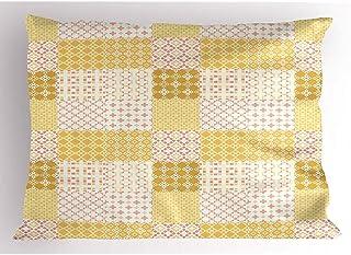 4 Piezas 18X18 Pulgadas Funda De Almohada Geométrica,Obra De Arte Ensamblada De Varias Formas Y Motivos En Tonos Pastel,Funda De Almohada Impresa Tamaño Estándar Estándar para Decoración del Hogar