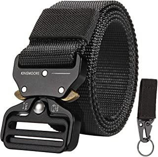 Mens Tactical Belt, Military Style Webbing Riggers Web Gun Belt with Heavy-Duty Quick-Release Metal Buckle