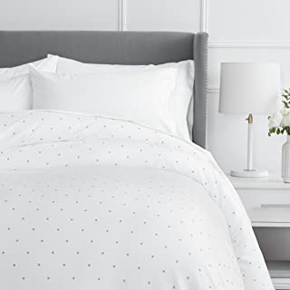 Pinzon 170 Gram Flannel Cotton Duvet Cover, Full / Queen, Grey Dot