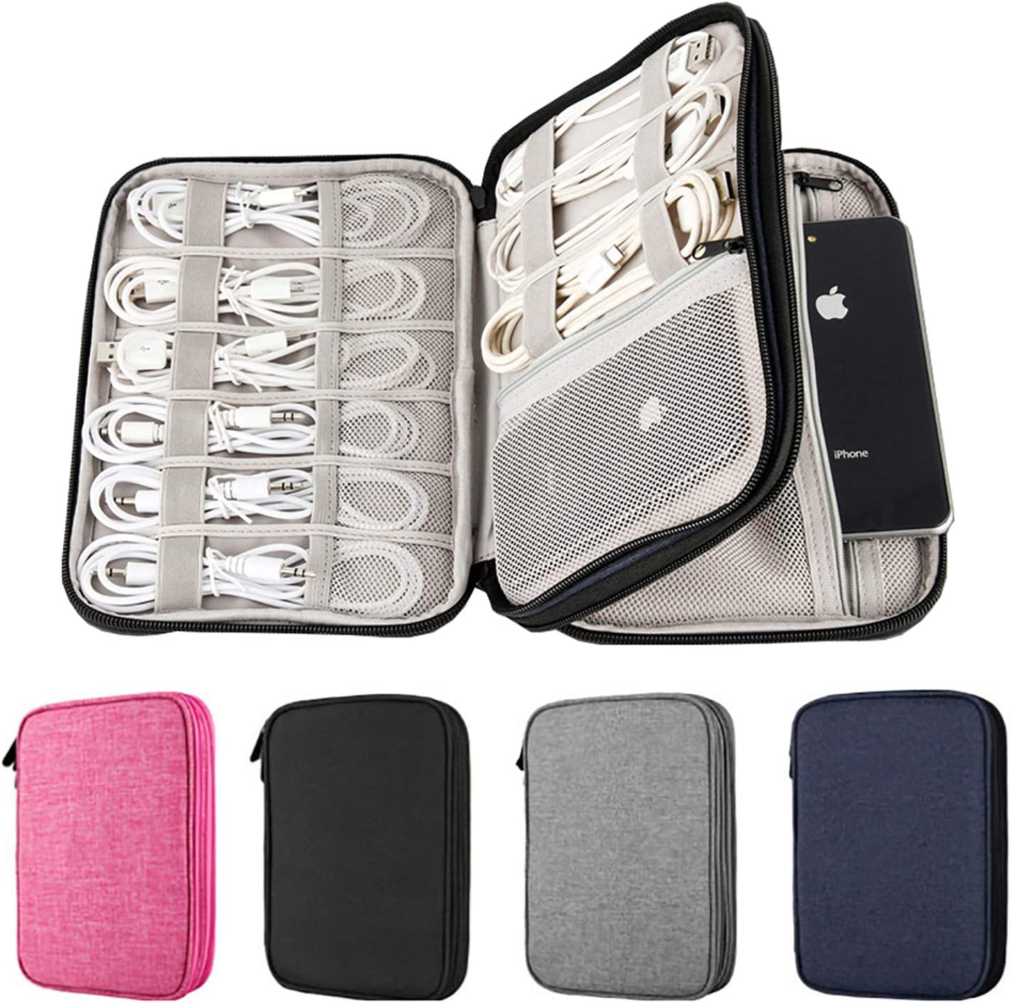 Electronics Organizer, 2 Layer Electronic Accessories Organizer Travel Storage Bag for Charging Cable, phone, Power Bank, Mini Tablet (Up to 7.9''), Make up Organizer Bag for Traveling (Navy)