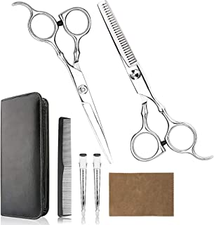 Hair Cutting Scissors Professional Home Haircutting Barber/Salon Thinning Shears Kit with Comb and Case for Men/Women (Sliver)