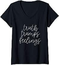 Womens Truth Trumps Feelings Funny V-Neck T-Shirt