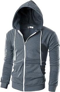 Ohoo Mens Slim Fit Long Sleeve Lightweight Zip-up Hoodie with Kanga Pocket